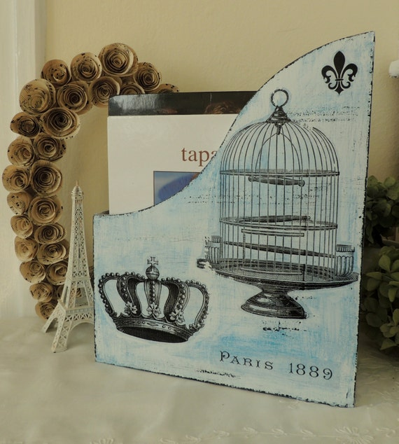 shabby chic magazine holder rack stand storage wooden kitchen. Black Bedroom Furniture Sets. Home Design Ideas