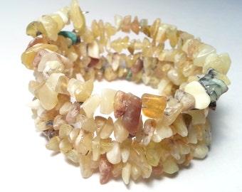 Wax Opal Memory Wire Wrap Bracelet; Wax Opal Bracelet; Yellow Gemstone Chip Bracelet; Shades of Yellow Tone Stone Chip Bracelet