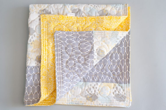 Grey and yellow baby quilt modern handmade quilt cloud for Yellow baby fabric