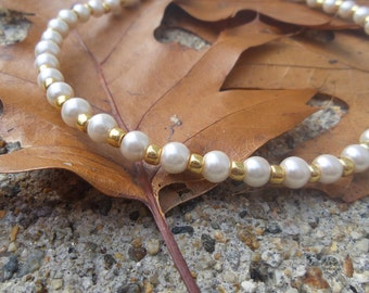Classy and Beautiful Pink and Gold Beaded Necklace