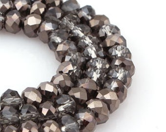6 mm Black Diamond & Hematite Crystal glass Rondelle  Faceted Beads - about 45 pcs (6050- FikaSupplies)