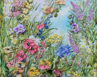 Summer Celebration! Original Embroidered Silk Painting Textile Art