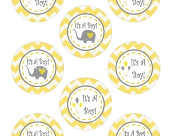 DIY Its A Boy Cupcake Topper, Yellow Gray Chevron Cupcake Topper, DIY Yellow Gray Toppers, DIY Elephant Cupcake - By Printables 4 Less