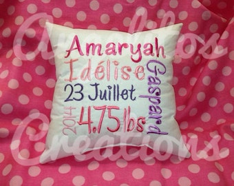 Embroidered Birth Announcement Pillow Baby gift baby shower
