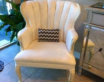 SOLD......Shabbychic Newly Upholstered Wingback Chair | Nursery Chair