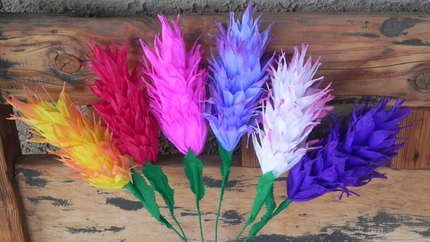 New Mexican Crepe Paper Flowers Set of 6 Bright Fiesta Colors