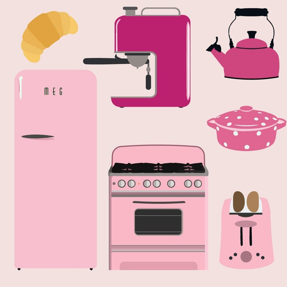 Pink Retro Kitchen // Cliparts And Printables // Vintage