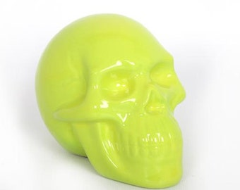 Skull moneybox, Lime ceramic, for decoration or collection