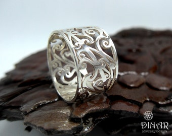 Sterling silver ring in a Romantic lace design ,silver Lace ring, handmade unique lace embellishment pattern, holiday sale ,fashion ring