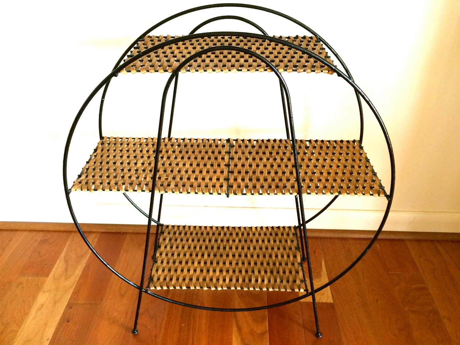 Mid Century Modern Round Shelf Wrought Iron And Wicker