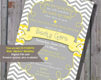 Bright Yellow And Grey Chevron Strip, You Are My Sunshine, Baby Shower  Invitation Gray
