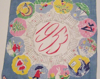 Vintage Burmel 1953 Calendar Hankie