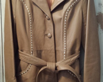 Vintage Leather Trenchcoat Jacket