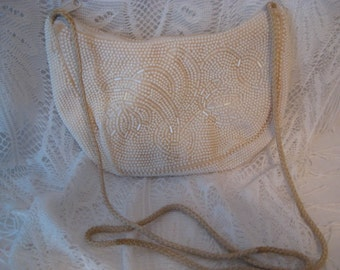 Beautiful Vintage White Beaded Sling Purse