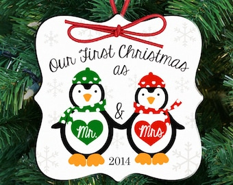 our first christmas ornament   personalized couple's first christmas as mr and mrs penguin ornament FCOP