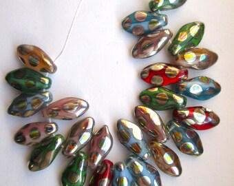 24 Glass Czech Dagger Beads in Mixed Colors