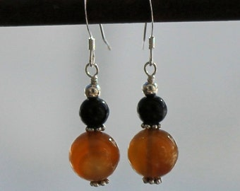 Red Agate and Obsidian Earrings