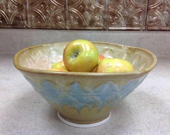 Large stoneware bowl {handmade} wheel thrown, stamped, blue/tan glaze