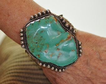 Rare, huge and Gorgeous! Vintage Hachita Turquoise Cuff Bracelet