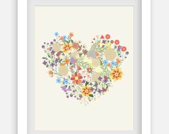 Floral Heart Print Art. Printable and decorative wall art for your home or office.