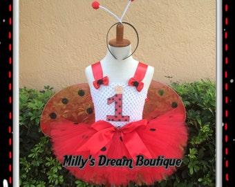 LadyBug Tutu dress/ Wings Sold Separately