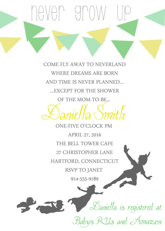 peter pan baby shower invitation