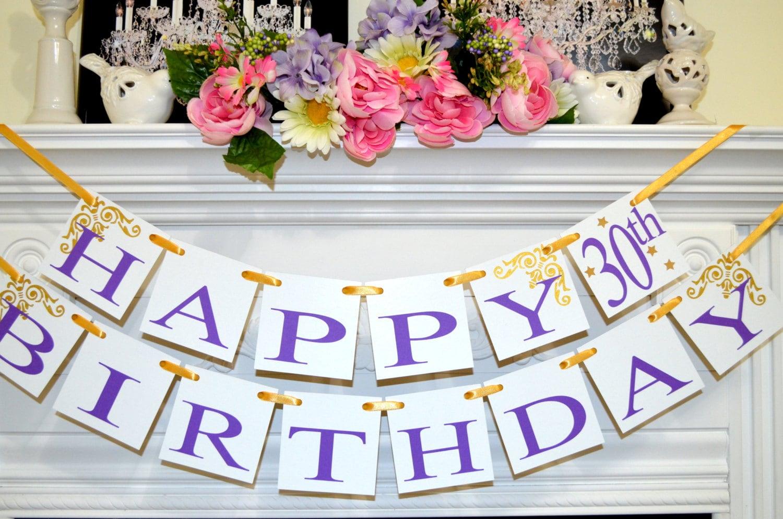 happy 30th birthday banner garland birthday decor purple