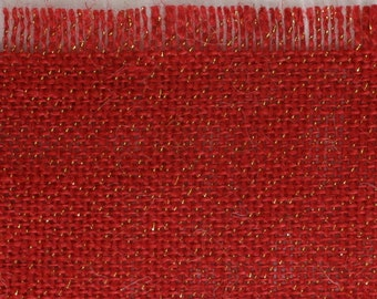 "Red Glitter Burlap Table topper 47"" x 47"" , Great for the Holidays, fringed edges, we have in variety of colors (BFG-T11)"