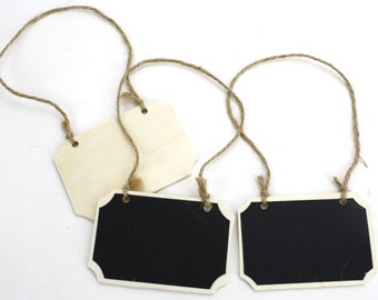 Set of 3 Chalkboard Rectangle Wooden Tags. Great for gifts, favors, rustic and primitive decorations. (CBT311)