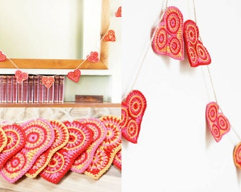 Crochet heart bunting. Horizontal heart garland - home / party decor. Wedding, bedroom, nursery decoration. 'Amelie'