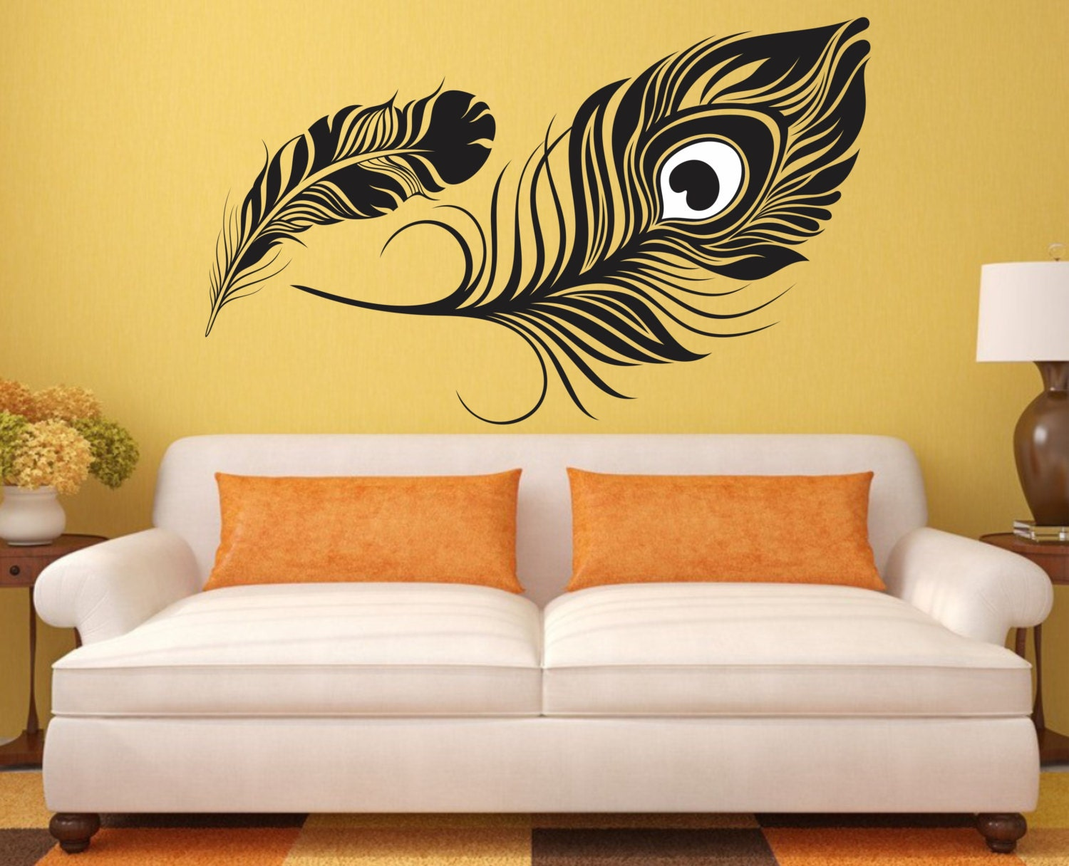 feather wall decal peacock feather vinyl sticker decals art decor design wall decal girls room birds vinyl wall art - Wall Art Design Decals