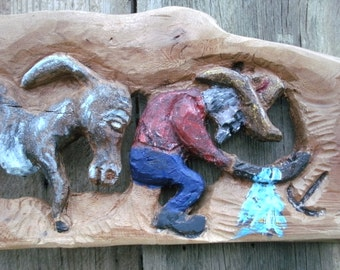 Gold Miner & Jenny, Carved in Sycamore, a Wall Hanging