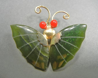 Vintage Jade Faux Jade Butterfly Pin Pendant Gold tone