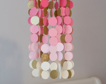 Pink and Gold Paper Crib Mobile, Modern circle mobile, geometric crib mobile, nursery mobile, teen room, dorm room, wedding decor