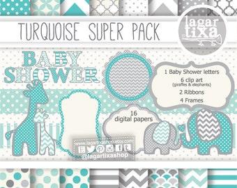 Gray Turquoise Digital Paper background textures patterns giraffe elephant chevron polka dots frames grey invitations baby shower printables