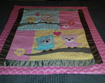 Pink Owl Baby Blanket
