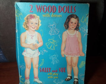 Vintage Cut-outs 2 Wood Dolls with Dresses Sally and Sue will play with you c.1940's