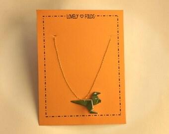 Origami dinosaur necklace