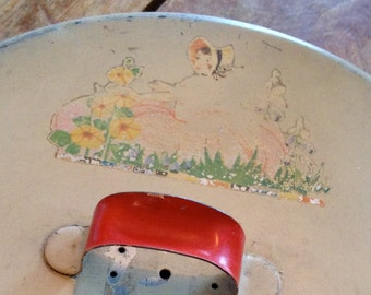 Mary, Mary, Quite Contrary - Shabby Vintage 1940s Tin Cake Carrier/Holder – Bottom Clips and Red Handle
