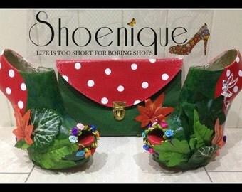 Woodland Fairy Peeptoe Boots Heels