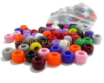 180 Pony Beads, 11 colors, variety pony beads, colored beads, plastic beads, plastic pony beads, hash necklace beads, name necklace beads