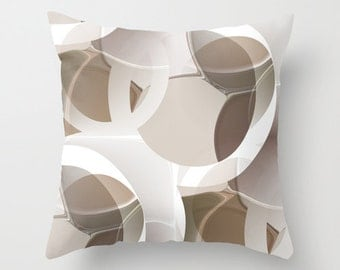 Throw Pillow Cover in Brown Taupe White Abstract Modern Home Decor Living room bedroom accessories Cushion Decorative Pillow Cover