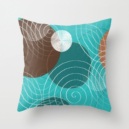 Turquoise Brown Throw Pillow Cover Teal White by HLBhomedesigns