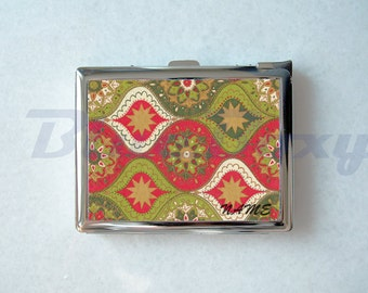 Abstract Floral Cigarette Case with Lighter, Cigarette Box, Card Holder