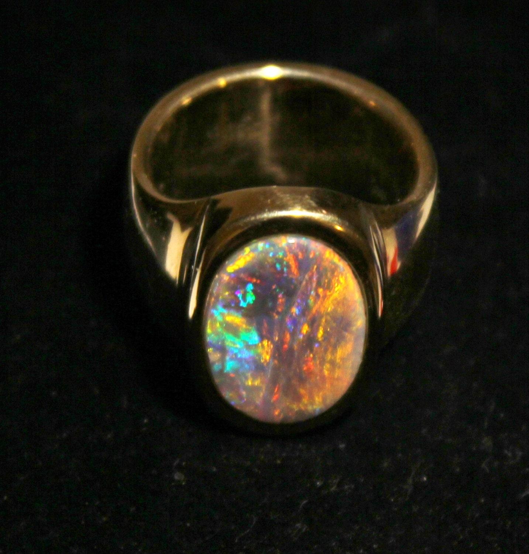 Australian Black Opal Mens Ring 14k solid yellow gold