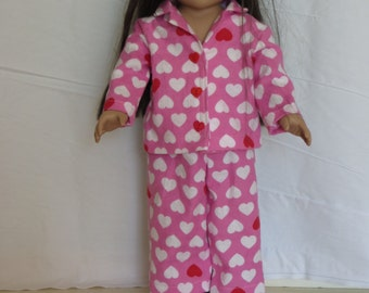 Pink heart  themed pajamas (PJ's) for American Girl and other 18 inch dollsF