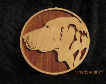 Pointer - 3D Relief Portrait - Hand Made Wood Working Fretwork Wall Hanging
