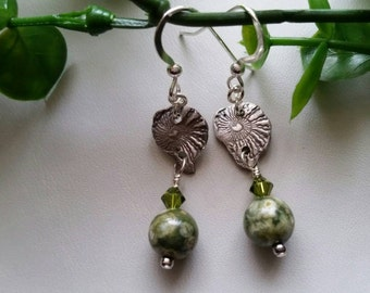 Fine silver and Jasper earrings