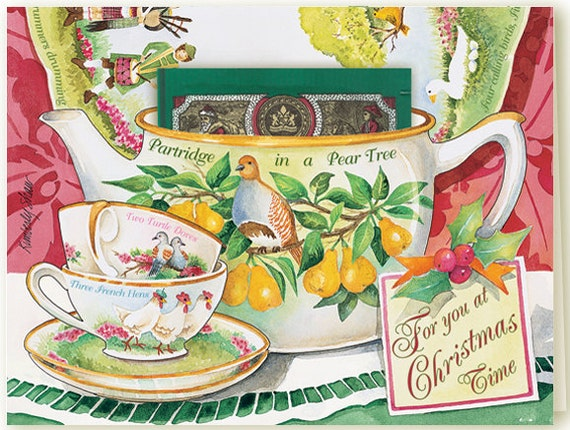 12 Days of Christmas a Teacup Greeting Card with a delicious