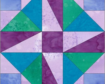 Pinwheel Square Paper Piece Foundation Quilting Block Pattern